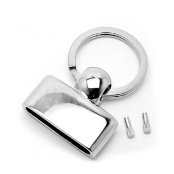 Bandklemme Schlüsselbandrohling Key-Fob 30mm Silber mit Nieten und Spiralring