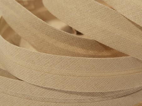 5 m Schrägband uni beige 20mm 100% Baumwolle
