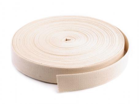 25 Meter Rolle Gurtband 3cm / 30mm breit Baumwolle Farbe Natur