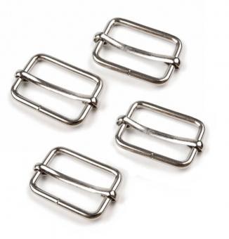 4 Stück Schiebeschnalle 20mm Silber/Nickel glänzend