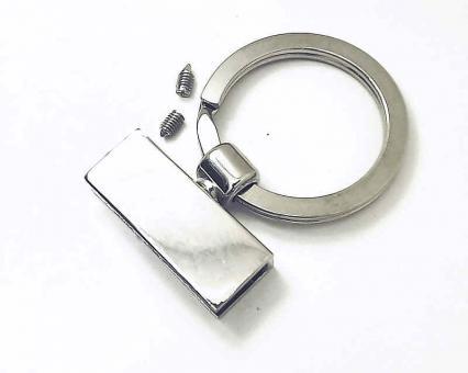 Bandklemme Nickel glänzend Key-Fob 30mm / 3cm als Schlüsselbandrohling