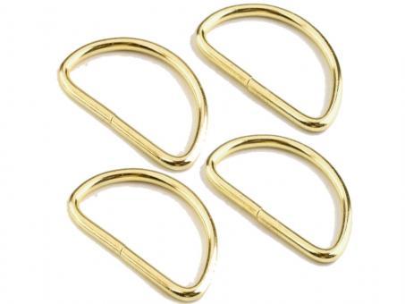 4x D-Ring Oberfläche Gold, 25mm x 3mm