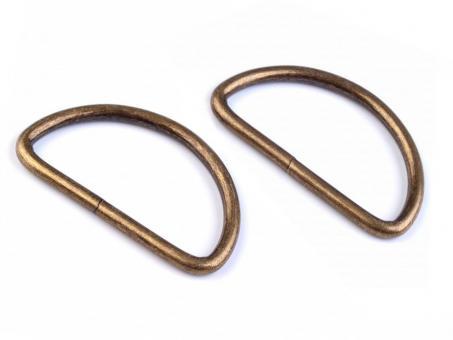 4 Stück D-Ring Altmessing matt 3,8 cm Drahtdicke 3mm