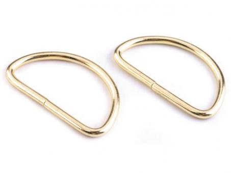 4 Stück D-Ring Gold glänzend 3,8 cm Drahtdicke 3mm
