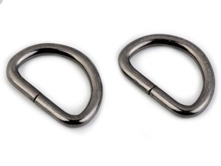 4x D-Ring Nickel schwarz glänzend, 25mm flach