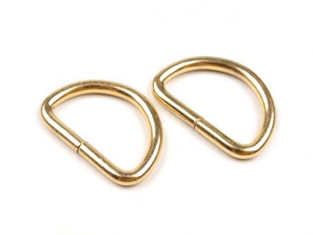 4x D-Ring Gold glänzend, 25mm flach