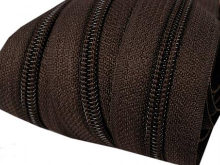 5m Endlos-Reißverschluss dunkelbraun 5mm incl. 10 Zipper
