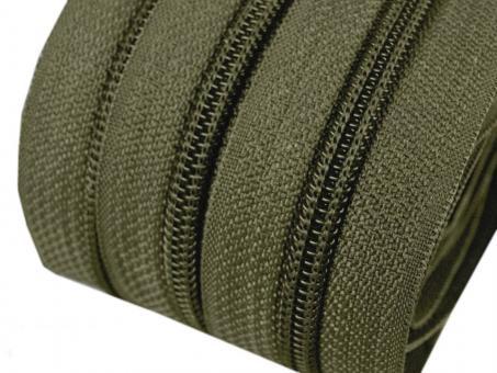 5m Endlos-Reißverschluss dunkelgrün 5mm incl. 10 Zipper