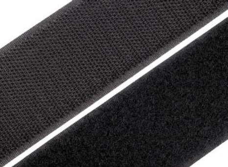 1 Meter Klettverschlussband 50mm / 5cm breit, schwarz zum Annähen