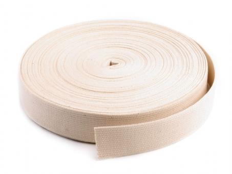 25 Meter Rolle Gurtband 4cm / 40mm breit Baumwolle creme / natur