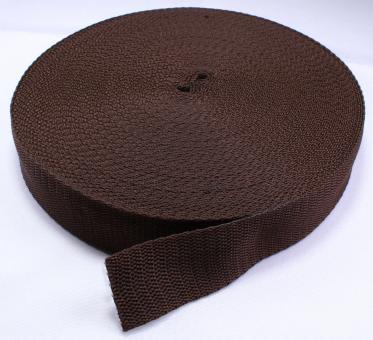 25 Meter Rolle Gurtband 3 cm / 30mm breit dunkel-braun