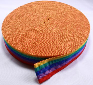 25 Meter Rolle Gurtband 30mm / 3cm breit - Regenbogen