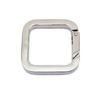 Karabinerring Eckig 30mm Nickel glänzend