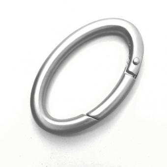 ovaler Karabiner, Karabinerhaken Nickel/Silber matt 50/30mm