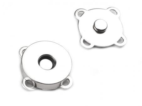 Magnete zum Annähen / Aufnähen Nickel glänzend 18mm Durchmesser