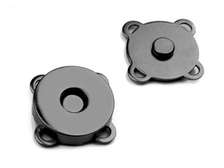 Magnet zum Annähen / Aufnähen schwarz glänzend 18mm Durchmesser