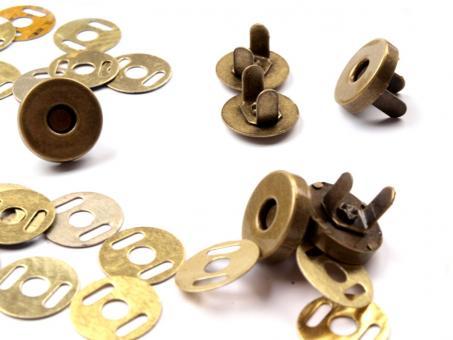 5 Stück Magnetverschluss Altmessing 14 mm für kleine Taschen