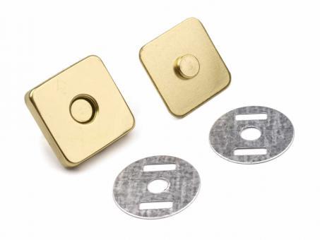 Magnetverschluss Gold glänzend 18 mm Quadratisch