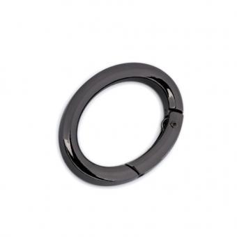 Karabiner oval 19 x 29 mm innen - schwarz Nickel / Anthrazit glänzend