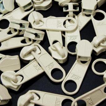 10 Reißverschluss Zipper Schieber creme / beige für 5mm Spiral Endlosreißverschluss