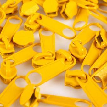 10 Reißverschluss Zipper Schieber gelb für 3mm Spiral Endlosreißverschluss