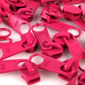 10 Reißverschluss Zipper Schieber pink für 3mm Spiral Endlosreißverschluss
