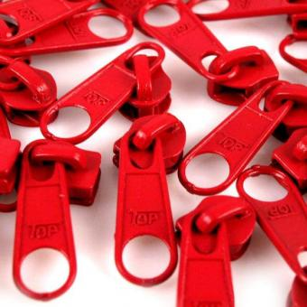 10 Reißverschluss Zipper Schieber rot für 5mm Spiral Endlosreißverschluss