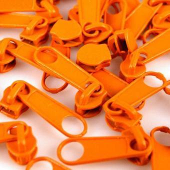 10 Reißverschluss Zipper Schieber orange für 3mm Spiral Endlosreißverschluss