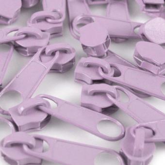 10 Reißverschluss Zipper Schieber hell violett für 5mm Spiral Endlosreißverschluss