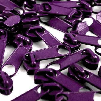 10 Reißverschluss Zipper Schieber lila für 3mm Spiral Endlosreißverschluss