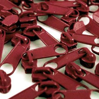 10 Reißverschluss Zipper Schieber weinrot für 3mm Spiral Endlosreißverschluss