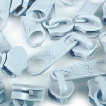 10 Reißverschluss Zipper Schieber hellblau für 3mm Spiral Endlosreißverschluss