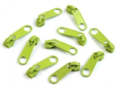 10 Reißverschluss Zipper Schieber hell grün für 5mm Spiral Endlosreißverschluss