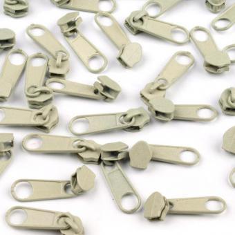 10 Reißverschluss Zipper Schieber zartgrün für 3mm Spiral Endlosreißverschluss