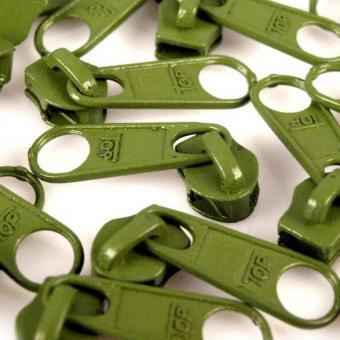 10 Reißverschluss Zipper Schieber grün für 5mm Spiral Endlosreißverschluss