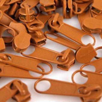 10 Reißverschluss Zipper Schieber zimtbraun für 3mm Spiral Endlosreißverschluss