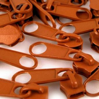 10 Reißverschluss Zipper Schieber zimtbraun für 5mm Spiral Endlosreißverschluss