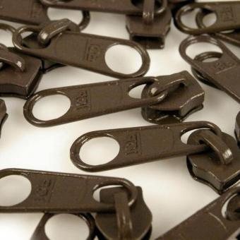 10 Reißverschluss Zipper Schieber dunkelbraun für 5mm Spiral Endlosreißverschluss