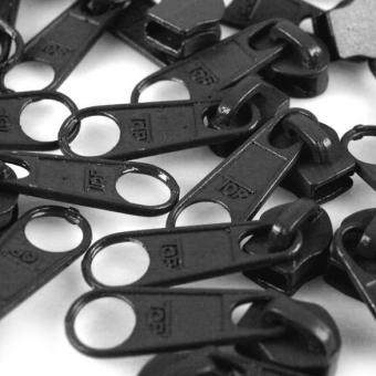10 Reißverschluss Zipper Schieber dunkelgrau für 3mm Spiral Endlosreißverschluss