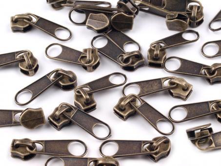 10 Reißverschluss Zipper Schieber altmessing für 5mm Spiral Endlosreißverschluss