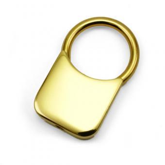 Schlüsselanhänger Quadratform mit Goldauflage