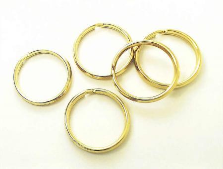 5 Schlüsselringe 16 mm Gold glänzend klein