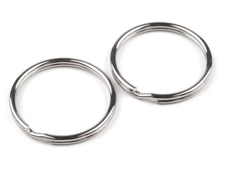 5 Schlüsselringe 30 mm innen Nickel / Silber glänzend