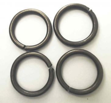 4 Stahlringe Altmessing 25mm Innendurchmesser / 3mm Drahtstärke