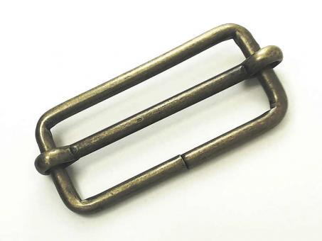 Schiebeschnalle / Verstellschnalle oval 50mm Altmessing matt