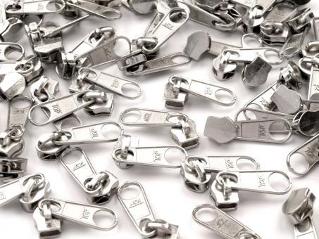10 Reißverschluss Zipper Schieber silber für 5mm Spiral Endlosreißverschluss