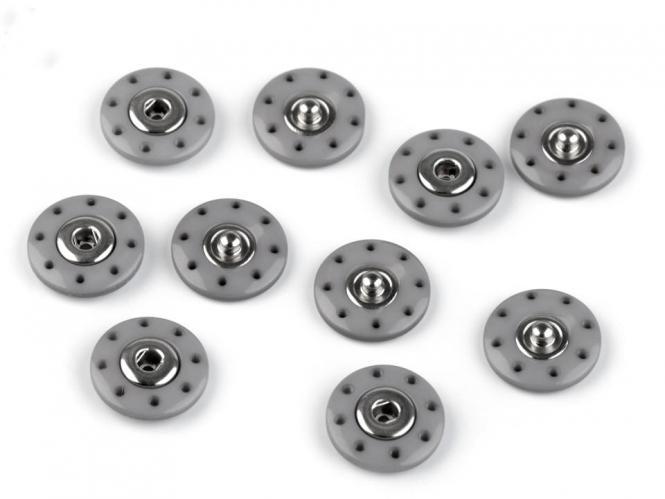 5 Stück Design-Druckknöpfe grau 20mm / 2cm - extra gross