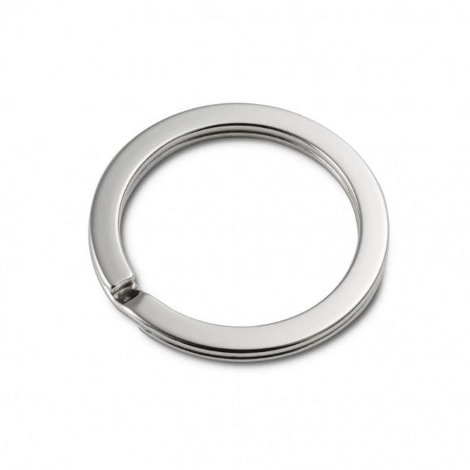 5 Schlüsselringe 30mm innen  / 38mm aussen Nickel / Silber glänzend extra stark