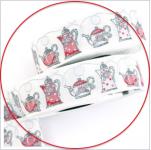 Webband Teekannen weiß-rot acufactum 3 cm breit