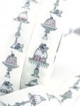 Webband Törtchen, Torte weiß-violett acufactum 2 cm breit